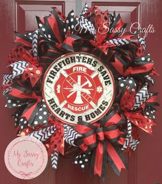 Firefighter Decor - Firefighter Wife - Firefighter Sign - Deco Mesh Wreath - Firefighter Wreath - Firefighters Save Hearts and Homes