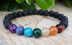 7 Chakra Bracelet, Mens Bracelet, Womans Bracelet, Gemstone Bracelet, Crystal Healing, Energy, Balance, Rainbow, Yoga, Mala, Boho - pinned by pin4etsy.com