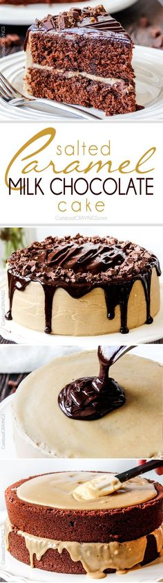 Crazy moist Salted Caramel Milk Chocolate Cake, busting with milk chocolate toffee bits, coated in Caramel Icing and smothered in silky chocolate ganache.