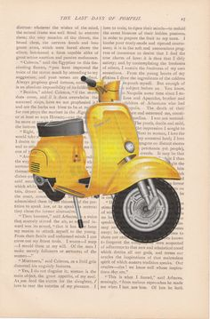 dictionary art vintage yellow VESPA SCOOTER by ExLibrisJournals