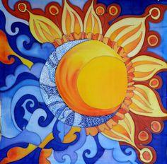 Bufanda del sol y la luna. Pintado a mano bufanda de seda.