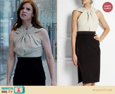 Lanvin Twist-Halter Colorblock Dress worn by Sarah Rafferty on Suits Office Fashion Women, Fashion Tv, Suit Fashion, Girl Fashion, Donna Suits, Gossip Girl Outfits, Suits Tv Shows, Look Office, Iconic Dresses