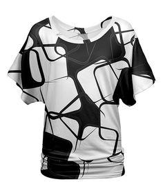 Black & White Geometric Blouson Tunic - Plus Too