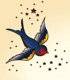 Swallow Tattoos – Exploring the Symbolic Meaning of Swallow Tattoo Designs Time Tattoos, Star Tattoos, Body Art Tattoos, Hand Tattoos, Tattoo Stars, Swallow Tattoo Design, Swallow Bird Tattoos, Tatto Old, Arm Tattoo