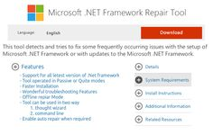 #Asp.net #Framework Repair Tool What are the features?