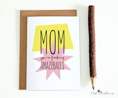 Mum Amazeballs Card  Mom Mothers Day Card by Lost Marbles Co