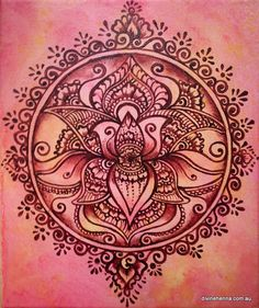 Regal Lotus Henna Painting. $35.00, via Etsy.