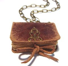Free shipping - Mini Leather Book Necklace - EDVARD - Victorian Style - Old Leather - Bronze Decor - Vintage paper sheets - 4x3 cm. $25.00, via Etsy.