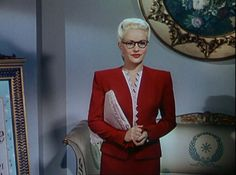 "Betty Gable's amazing red suit with zig-zag trim detailing from ""Pin Up Girl"" (1944)"