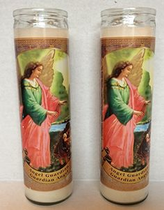 Guardian Angel Glass Prayer Candles 8 Inch Devotional Candles (Pack of 2) *** For more information, visit http://www.amazon.com/gp/product/B01F66V1XW/?tag=homeimprtip08-20&rw=070716230745
