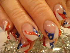 4th of July ( Independence Day ) Nails ~ Blue Sparkles, Red Sparkles, White