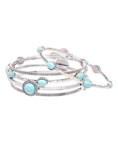 Look what I found on #zulily! Turquoise & Silvertone Bangle Set #zulilyfinds