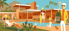The Refill 1 shag Palm Springs City Guide: Desert Modernism travel top articles hotel design Palm Springs Mid Century Modern, Mid Century Art, Mid Century Modern Design, Tiki Art, Spring City, Retro Art, Midcentury Modern, Illustrators, Surfing