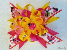 Pink & Yellow Ladybug Grosgrain Bow, Fuschia Twisted Loopy Ribbon Hair Clip, Girls Barrette, Lady Bug, Lady Bird, Ladybird Beetles Gift by SmoreCrafty on Etsy