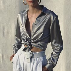 Procuring the most exciting fashion can be as easy as sending a DM. Thing 1, Satin Shirt, Silk Charmeuse, Skirt Pants, Vintage Silver, Leather Jacket, Street Style, Photo And Video, Blouse