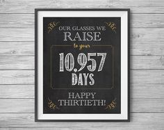 30th Birthday or Anniversary Sign To Your 10957 Days by NviteCP, , 30th Birthday, 30th Anniversary, 1987 sign, 30th
