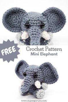 Crochet Elephant Pattern, Crochet Keychain Pattern, Fingerless Gloves Crochet Pattern, Crochet Bookmarks, Crochet Animal Patterns, Crochet Patterns Amigurumi, Beginner Crochet Tutorial, Beginner Crochet Projects, Mini Amigurumi