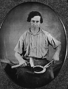 BLACKSMITH Occupational portrait of a blacksmith, three-quarter length, facing front, holding a horseshoe with pliers in one hand, and a hammer in the other] Louis Daguerre, Old Pictures, Old Photos, Rare Photos, Vintage Photographs, Vintage Photos, Cowboys And Indians, Cowboy And Cowgirl, Old West