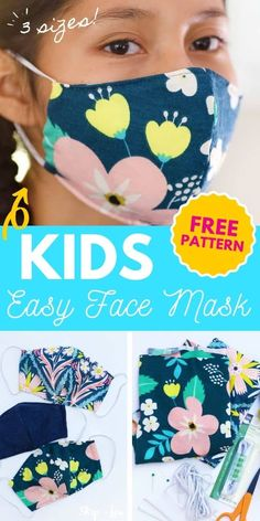 Sew this DIY Face Mask in minutes! With a tiny bit of fabric and elastic, you can make a comfortable and stylish face mask. Use my free printable pattern in small, medium, and large.