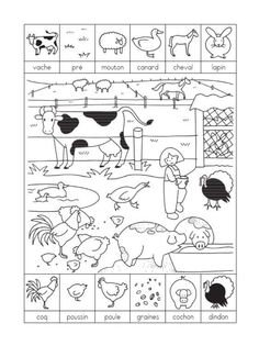 Printing Videos Texture Learn French Videos For Kids Spanish Free Printable Worksheets, Preschool Worksheets, Preschool Activities, High School Activities, Free Printables, French Pictures, Hidden Pictures, French Tenses, Farm Animal Crafts
