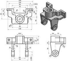 Mechanical Engineering Design, Mechanical Design, Autocad Isometric Drawing, Orthographic Drawing, Solidworks Tutorial, Page Borders Design, 3d Cad Models, Drawing Exercises, Cad Drawing