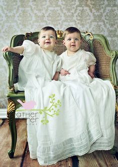 Twins in Great Grandma's Christening Gowns...Simply Beautiful!