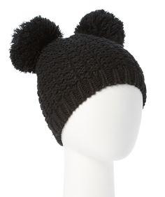 b61814d8a16 This Black Double Pom-Pom Beanie by Evelie is perfect!  zulilyfinds Crochet  Beanie