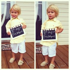 First day of preschool photo. Love his little preppy look. Polo Oxford. Baby TOMS. Sherry Conrad Photography sherryconrad.com