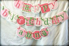 Pink and green birthday name banner