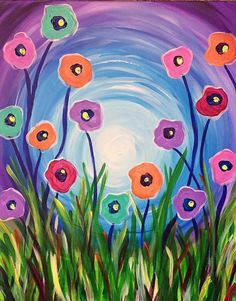 Easy Flower Painting, Easy Canvas Painting, Simple Acrylic Paintings, Spring Painting, Spring Art, Painting For Kids, Art Paintings, Flower Art, Canvas Art