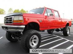 1995 Ford F350 Diesel Lifted Truck. Needs bigger tires and to be painted blue but otherwise, we'll take it!