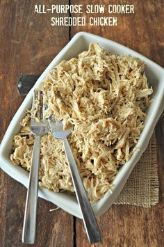 All-Purpose Shredded Chicken made in the slow cooker. Such an easy way to make chicken ahead. Great for freezing too! www.mountainmamacooks.com