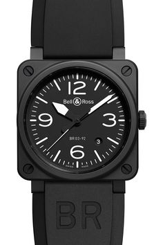 The Bell & Ross Instrument BR03-92 automatic with date function. Featuring a 42mm black matte finish case on a black rubber strap. Water resistant to 100 meters. The BR 03 instrument watch is not excl