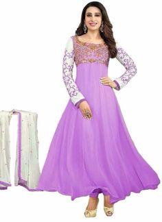 Karishma Kapoor embroidery work georgette Lavender anarkali suit http://www.angelnx.com/