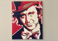 """Willy Wonka portrait: 100% duct tape """"painting"""" on stretched canvas"""