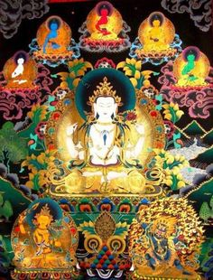 Chenrezig, Buddha of Compassion and the Five Dhyani Buddhas