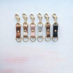 LEATHER and Brass Key Fob. Leather Key Chain by GiftShopBrooklyn, $20.00