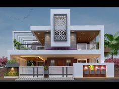 Top 30 front Elevation Designs for Double floor houses - YouTube Modern Bungalow Exterior, Modern Exterior House Designs, Modern House Facades, Latest House Designs, Modern House Design, Exterior Design, Brick Design, Villa Design, Facade Design