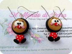 Miss Ladybug Kawaii Earrings Polymer Clay by IlMondodiPetra