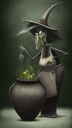 Animated Halloween Witch and Cauldron . Photo Halloween, Halloween Vintage, Halloween Artwork, Halloween Pictures, Halloween Crafts, Happy Halloween, Halloween Decorations, Halloween Humor, Halloween Ideas