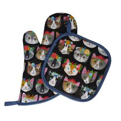 Flower Cat Oven Mitt and Pot Holder Set by collisionware on Etsy