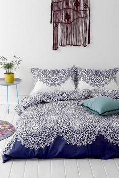 New Full Queen Size 100% Cotton Duvet Bedding 3 Piece Set 2 Shams Blue White