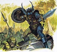 Warduke leads his lizardfolk minions into battle, as depicted in The Forest of Enchantment (1983). Art by Earl Norem.
