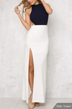 Blue and White High Neck Maxi Bottom Dress