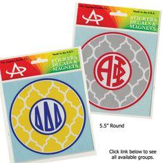 Sorority Quatrefoil Monogram Sticker $5.95