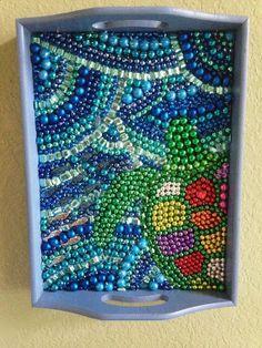 Mardi Gras Bead Art Sea Turtle by PoppyMagnolia on Etsy, $45.00