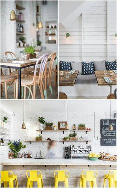 Elements I like about this look: greenery, brightness, natural wood accents, cozy feel #Coffeeshopinteriors