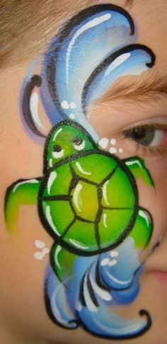 turtle face paint, that's is supper cute for me, since we live by the beach and sea world. #facepaint #kids #turtle                                                                                                                                                      More