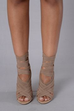 "- Available in Black, Khaki, Mint, and Fuchsia - Suede Sandal - Elastic Strappy Front - 4"" Heel ♡"