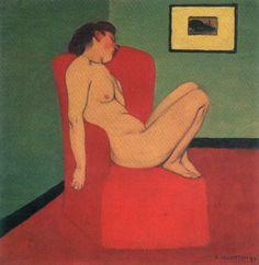 Félix Vallotton - Nu au fauteuil rouge, 1897